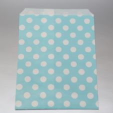 White dots Light blue Party bitty bags Set of 25/ Άσπρο πουά γαλάζια χαρτινα σακουλακια Σετ των 25